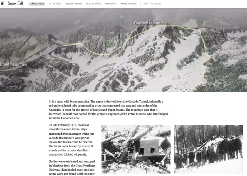 a screen shot from Snow Fall, showing an animated aerial view of the route taken by skiers caught in the avalanche, Branch's narrative, and two archive photographs